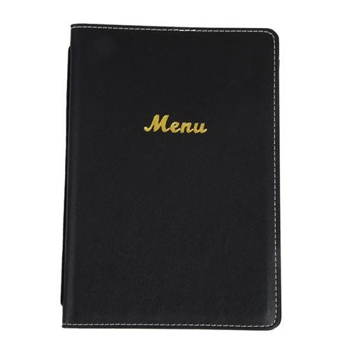 Porte-menus en simili cuir olympia noir a5