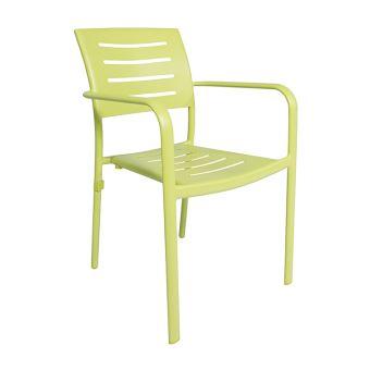 Chaise avec accoudoirs en aluminium vert anis brisbane - Mobilier de ...
