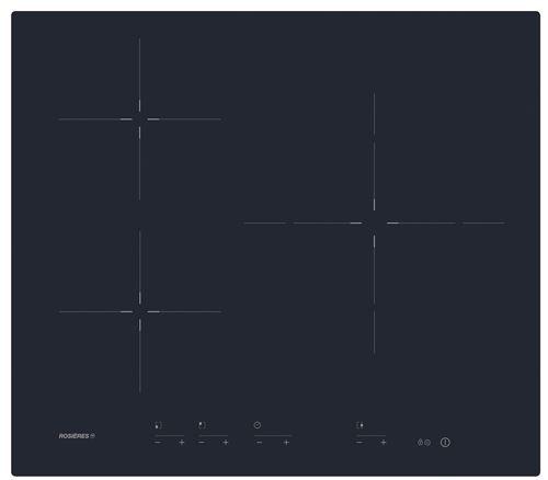 Rosières Origine RIS633MC - Table de cuisson à induction - 3 plaques de cuisson - Niche - largeur : 56 cm - profondeur : 49 cm - noir