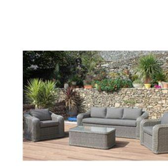 Salon bas de jardin marquises en résine ronde grise ...