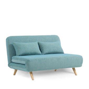 Canapé convertible modulable 2 places John - Couleur - Bleu Turquoise