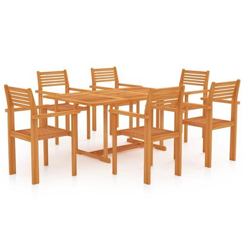 Ensemble de salle à manger de jardin 7 pcs en Bois de teck massif 150 x 90 x 75 cm