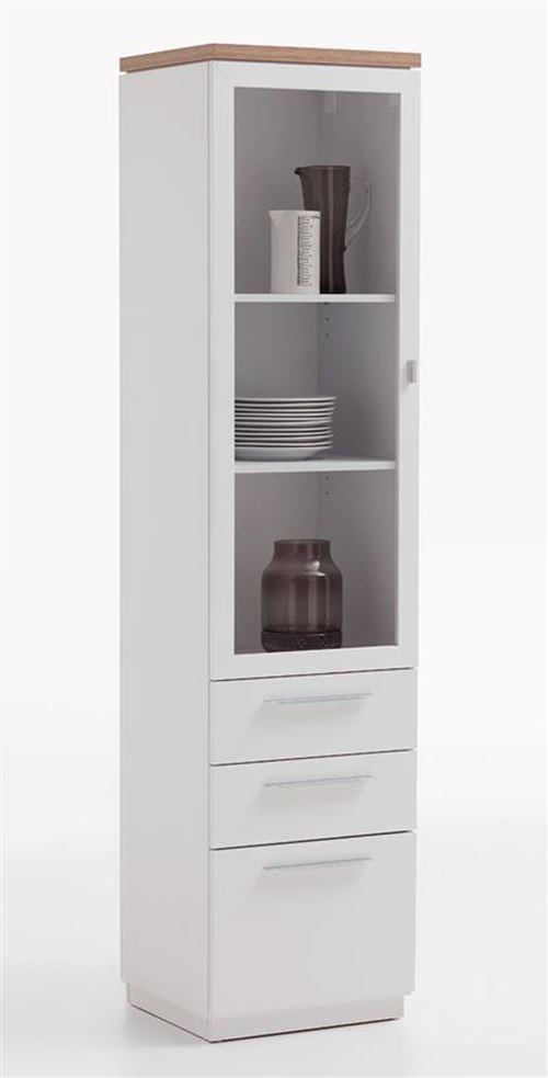 Vitrine coloris blanc brillant/chêne ancien en MDF - 45 x 189 x 40 cm -PEGANE-