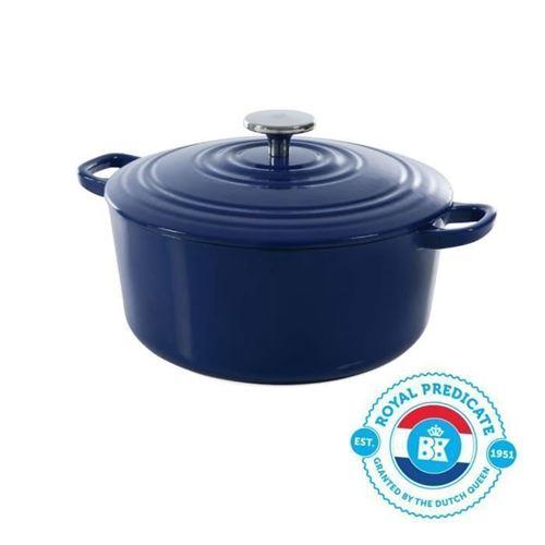 Bk Cookware H6074.524 Bk Bourgogne Cocotte En Fonte - Ronde - 24 Cm - 4.2l - Revetement Emaille - Couvercle Avec Anneaux