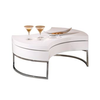 Table Basse Design Blanc Laque Plateau Pivotant Turn Achat