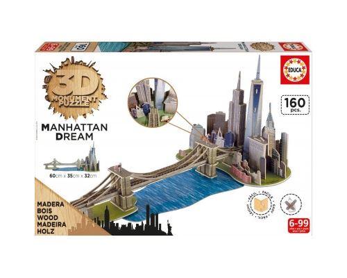 Puzzle 160 Pièces : Puzzle 3D en Bois - Brooklyn Bridge, Manhattan Dream, Educa