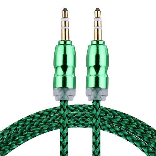 (#1) Woven Style Metal Head 3.5mm Male to Male Plug Jack Stereo Audio AUX Cable for iPhone, 1m(Green