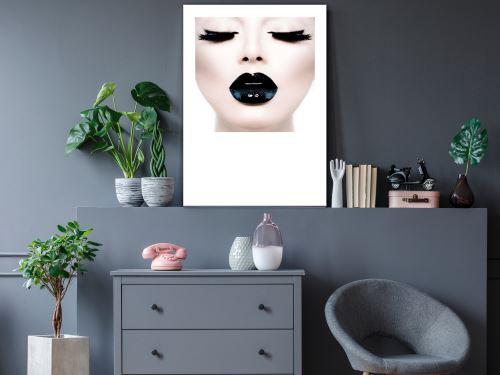 60x90 Tableau Femme Personnages Chic Black Lips (1 Part) Vertical