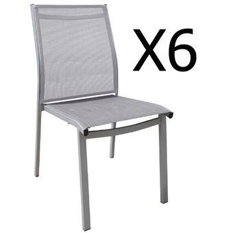 Lot de 6 chaises empilables en aluminium coloris argentgris