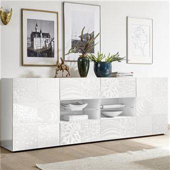 Buffet blanc laqué 240 cm design ELMA avec éclairage LED - L 241 x P 42 x H  84 cm