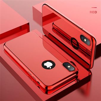 Coque Intégrale pour Apple iPhone X ( iPhone 10 ) Miroir Rouge Vitre Verre Trempé Anti chocs et Rayures