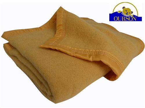 Couverture pure laine woolmark ourson 350 gr sarrazin 180x220