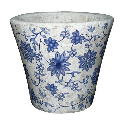 L'Héritier Du Temps - Moyen cache pot etanche style champêtre aux motifs floraux bleutés en terre cuite blanche 14x16x16cm