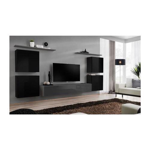 Ensemble meuble salon SWITCH IV design, coloris gris et noir brillant.