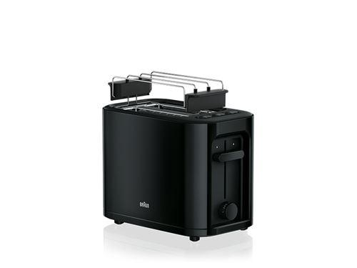 Braun – Grille-pain, 1000 W, 2 fentes, control déplacement, grille démontable, stockage de câble, Noir