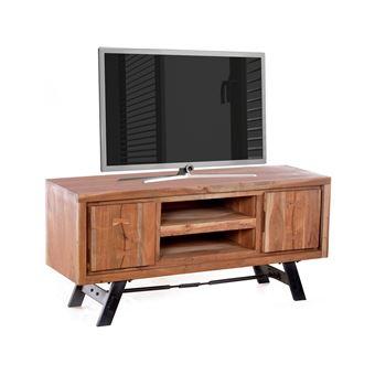 Meuble Tv Rustique En Acacia Et En Metal 130x40 Cm Avec 2 Portes 2