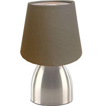 Lampe De Chevet Tactile Sensitive Touch Avec Pied Metal Abat Jour Taupe