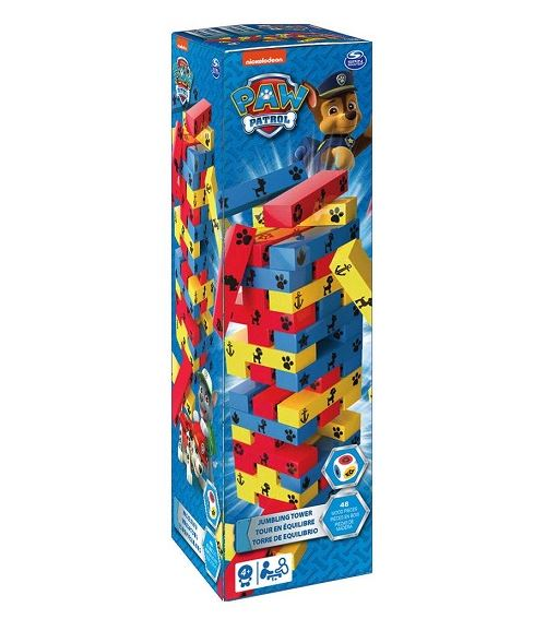 Tour en equilibre infernale pat patrouille 48 blocs en bois colore + de - jeu d'adresse enfant