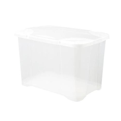 eda plastique boîte de rangement clip'box 60 l - naturel couvercle avec charniere - 60 x 40 x 40 cm