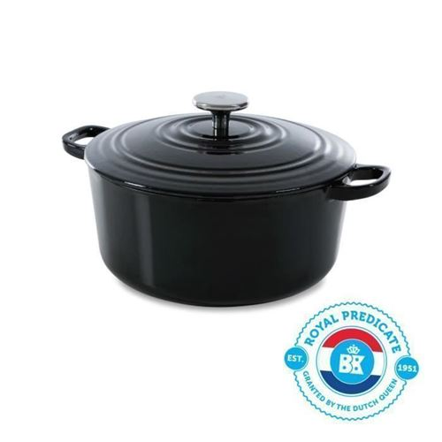 Bk Cookware H6071.524 Bk Bourgogne Cocotte En Fonte Ronde - 24 Cm - 4.2l - Revetement Emaille - Couvercle Avec Anneaux