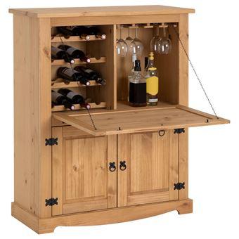 Meuble Bar A Vin Tequila Armoire Comptoir Avec Range Bouteilles Et Range Verres Bahut De Style Mexicain En Pin Massif Teinte Cire