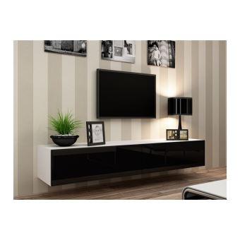 Meuble Tv Design Suspendu Vito 180cm Blanc Et Noir