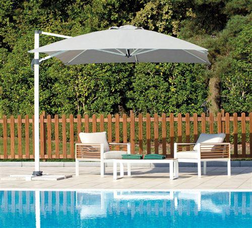 Parasol déporté rectangulaire en aluminium coloris Gris clair - 3 x 4 m -PEGANE-