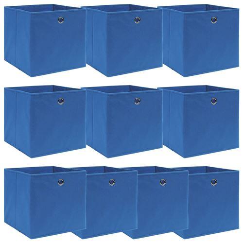 vidaXL Boîtes de rangement 10 pcs Bleu 32x32x32 cm Tissu