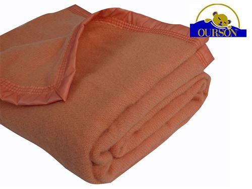 Couverture pure laine woolmark ourson 350 gr pêche 180x220