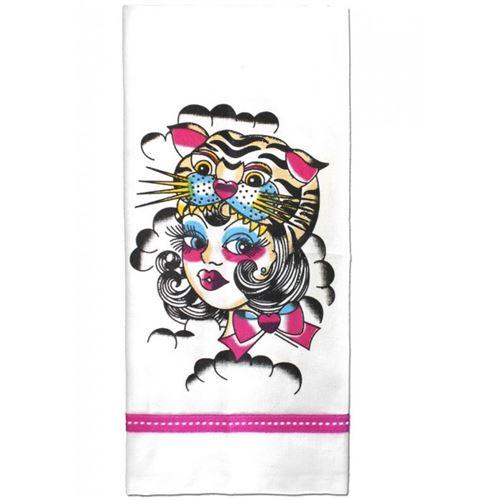 essuie main rockabilly femme et tigre dessin tattoo rockab