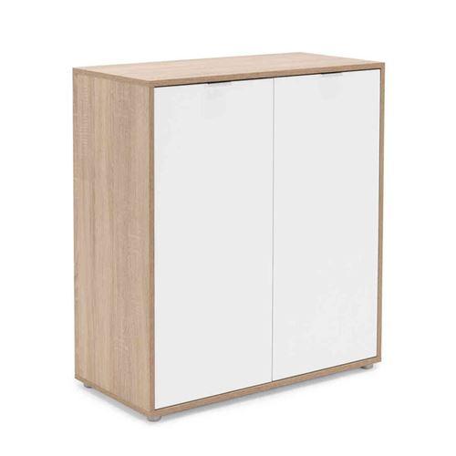 Commode 2 portes en bois imitation chêne clair et blanc - CO7102