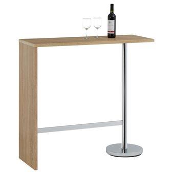 Table Haute De Bar.Table Haute De Bar Ricardo Mange Debout Comptoir Pietement Metal Chrome Plateau En Mdf Decor Chene Sonoma