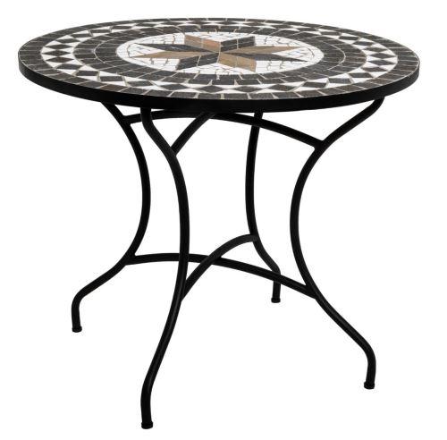 Table de repas ronde en mosaique coloris noir - D. 90 x H. 75 cm -PEGANE-