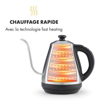 Klarstein Garçon Bouilloire électrique 1l Température réglable de 40° à 100°C 1800 2000W Inox
