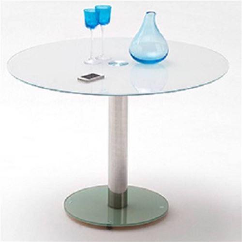 Table repas ronde design FATEN en verre blanc