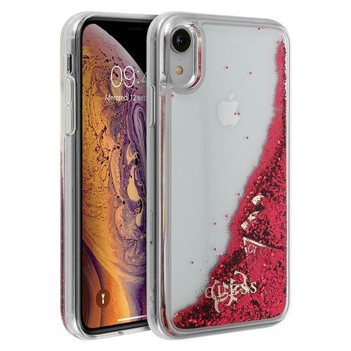coque iphone xr paillette liquide rouge