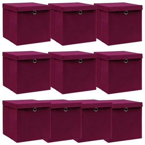 vidaXL Boîtes de rangement 10 pcs Rouge foncé 32x32x32 cm Tissu