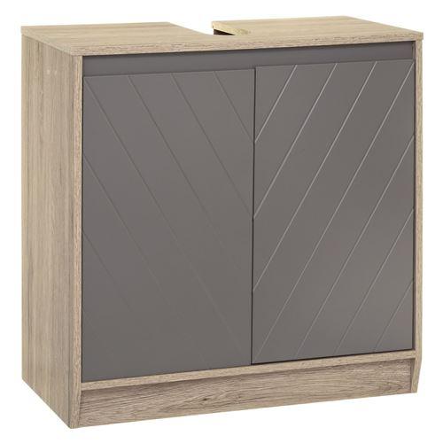 Meuble de lavabo design Elda - L. 60 x H. 60 cm - Gris