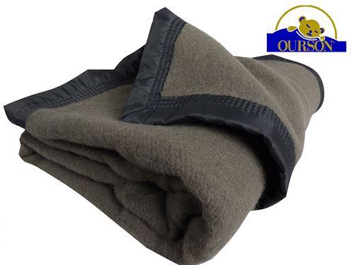 Couverture pure laine woolmark ourson 350 gr gris 240x260