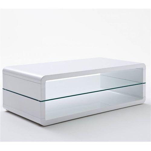Table basse design AGEN laquée blanc brillant plateau inférieur en verre