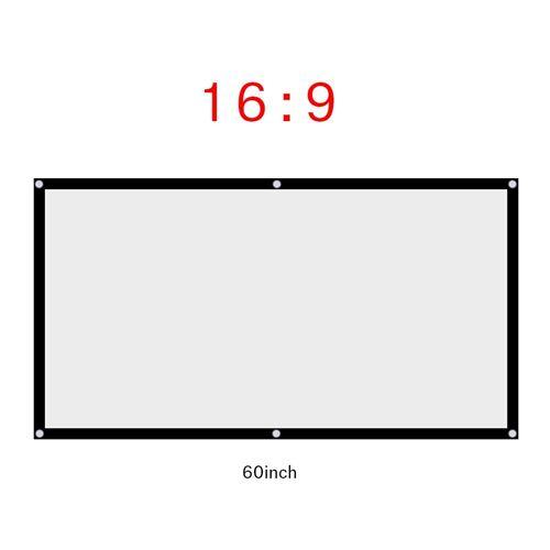1pc portable pliable anti-plis écran de projection de rideau blanc 16: 9 (60 pouces)