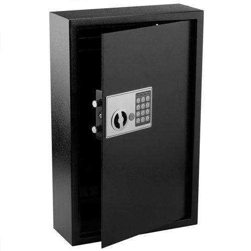 Armoire à clés avec 60 crochets. Coffre-fort de sécurité à code électronique 35x13x55cm noir