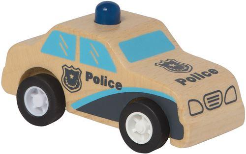 Manhattan Toy voiture de police Rescue pull-back 9 cm bois bleu/naturel