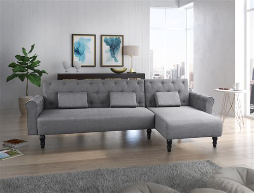 Canapé d'angle convertible Chester 267cm, gris