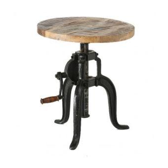 Table Basse Ronde Style Industriel Réglable \'Flexo\'