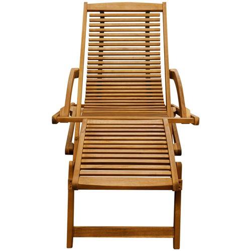 vidaXL Chaise de terrasse avec repose-pied Bois d\'acacia solide