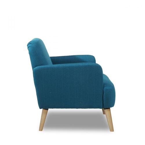 Fauteuil Retro Design.Fauteuil Retro Design Tissu Et Pieds Bois Clair Brooks Couleur Bleu