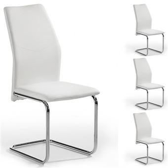 Lot de 4 chaises de salle  manger LEONA blanc Achat & prix