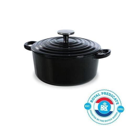 Bk Cookware H6071.520 Bk Bourgogne Cocotte En Fonte Ronde - 20 Cm - 2.5l - Revetement Emaille - Couvercle Avec Anneaux