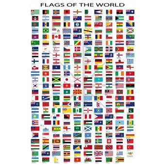 Drapeaux Du Monde Poster Reproduction Noms Des Pays Et Capitales